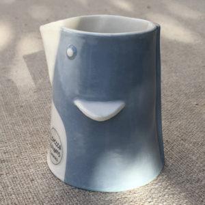 Bird Shaped Pottery Milk Jug - Blue & White