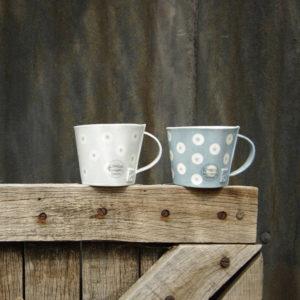 Ceramic Mug - Blue & White Dot Design
