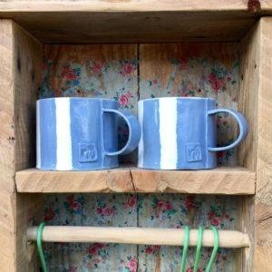 Ceramic Mug - Blue & White Stripe Design