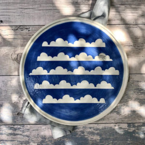 Ceramic Serving Platter - Blue Sky & Cloud Design