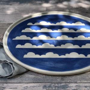 Ceramic Serving Platter - Blue Sky & Cloud Design