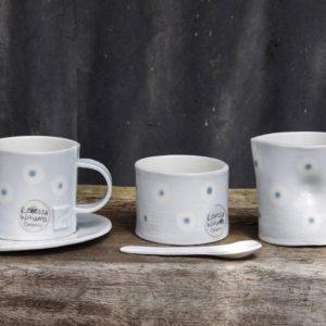 Creamer Milk Jug, Bowl & Spoon Set - Light Blue Dot Design