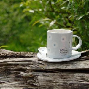 Espresso Coffee Cup, Saucer & Spoon - Light Blue Dot Design