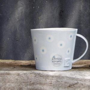 Handmade Ceramic Mug – Light Blue Dot Design