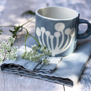 Handmade pottery mug - Cow Parsley