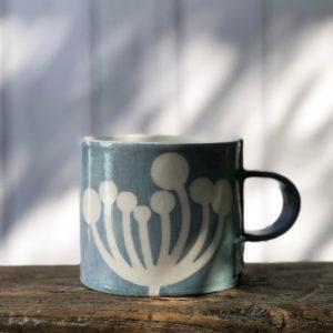Handmade pottery mug - Cow Parsley