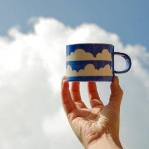 Porcelain Ceramic Mug - Blue & White Cloud Design