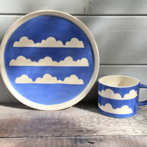 Porcelain Ceramic Mug & Side Plate - Cloud Design