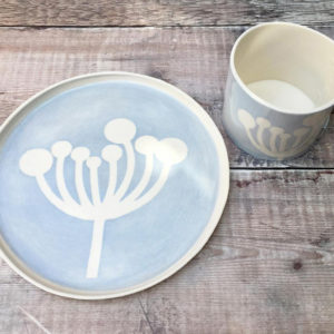 Porcelain Ceramic Mug & Side Plate - Cow Parsley Design