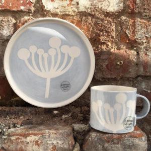 Pottery Mug - Light Blue & White Cow Parsley Design