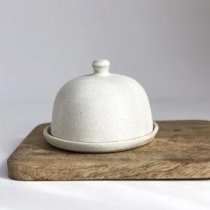 Stoneware Ceramic Butter Dish - Soft Matt Vanilla Glaze